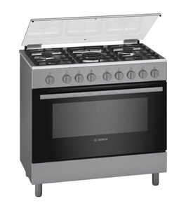 Bosch Freestanding Gas Cooker, 5GB, Full Safety 90x60, Stainless Steel