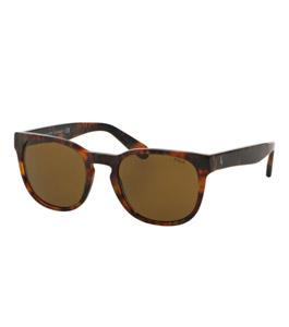 نظارة شمسية بولو رالف لورين للجنسين إطار شبه دائري بني