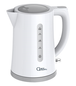 ClassPro Plastic Electric Kettle 1.7L, fast and easy boiling with Strix controller and water window