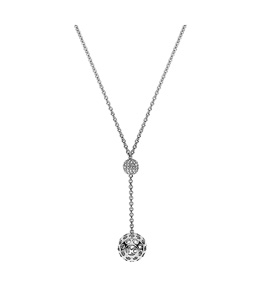 Dici Ladies Full Stainless Steel Rhodium Brass Necklace with White Stones