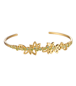 Dici Ladies Yellow Gold Based Color Brass Bracelet w/ Green Stones