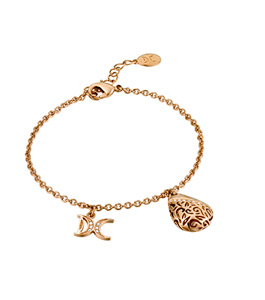 Dici Ladies Full Rose Gold Color Brass Bracelet with White Stones