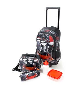 حقيبة مدرسة 18 بوصة بعجلات, حقيبة طعام مع قارورة مياه, مق