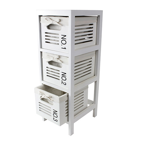3 Drawer Cabinet, White