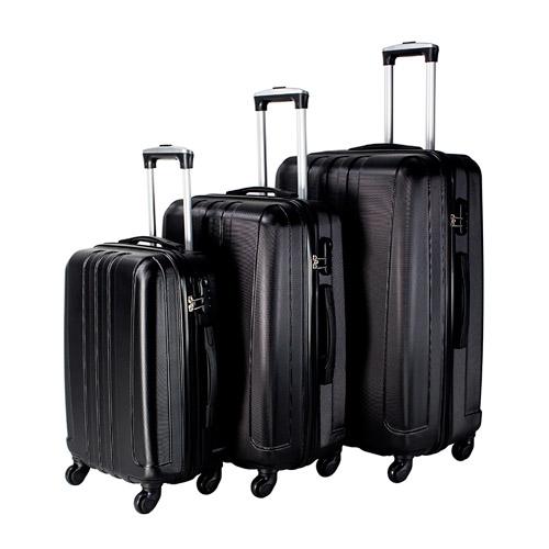Travel Vision set of 3pcs abs trolley case 20/24/28 black color