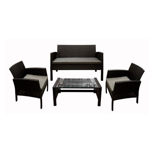 جلسة خارجية 4 قطع من الروطان اللون أسود