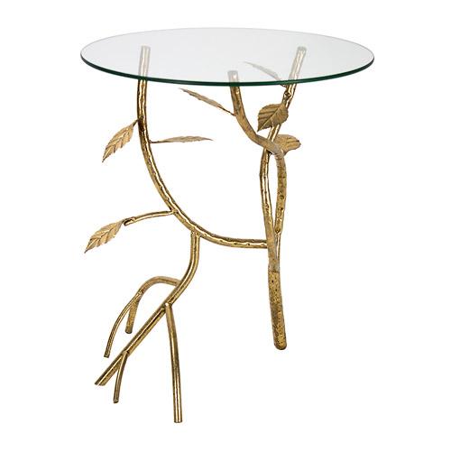 طاولة جانبية زجاج وقاعدة معدن
