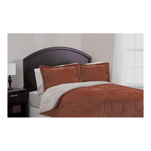 Casa Comfort Set Of 3Pcs, Flannel & Sherpa Comforter, King Size, Brown Color