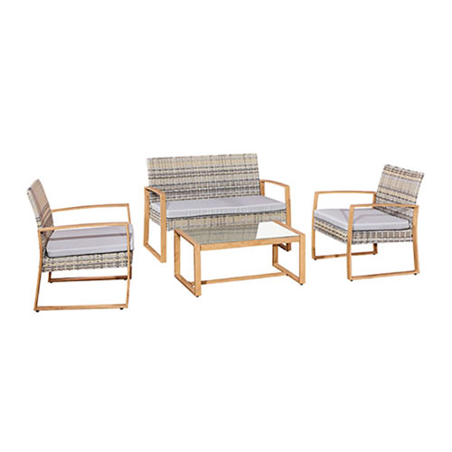 Outdoor Sofa Set Steel & Rattan 4Pcs