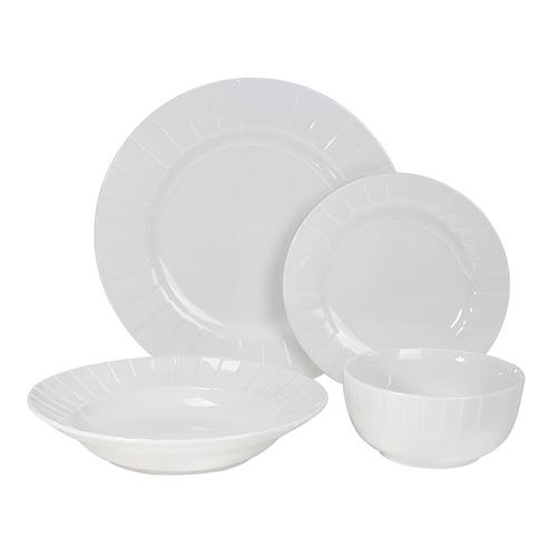 طقم عشاء من لاميسا 24 قطعة بورسلين يخدم 6 اشخاص اللون أبيض