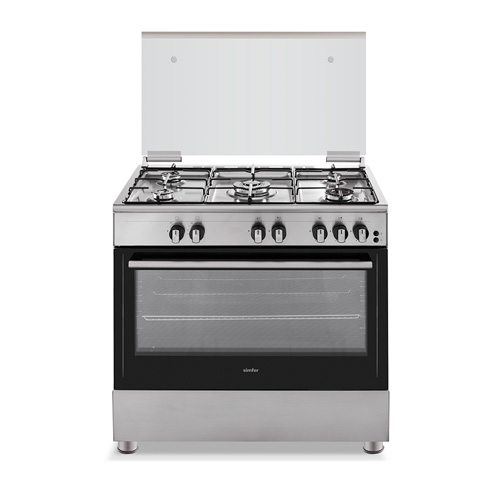Simfer Freestanding Gas Cooker, Size 90X60, 5 Burner, Stainless Steel
