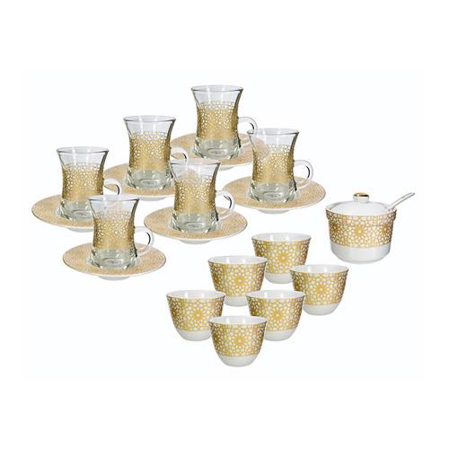 طقم شاي وقهوة عربي من زخرف 21 قطعة