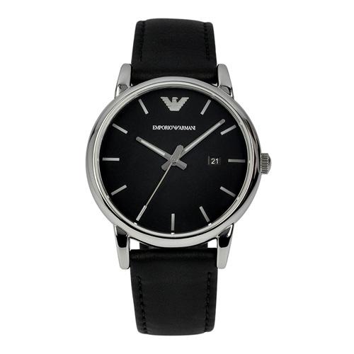 70fd45c7fe01 Emporio Armani Men Leather Black Watch