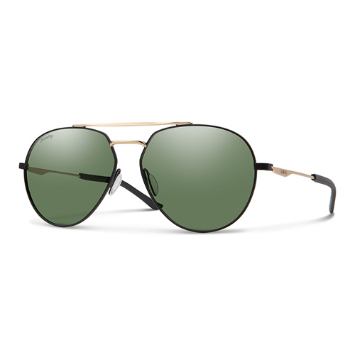 08d1d8eb22 Smith Men Mttblck Gold Sunglasses With Plastic Green Pz Cp Lens