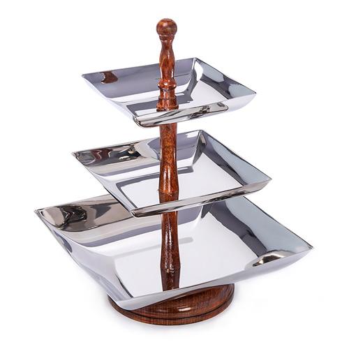 ألامود أطباق تقديم 3 دور مربع الشكل